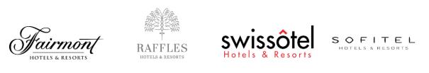 Fairmont, Raffles, Swissotel and Sofitel logos
