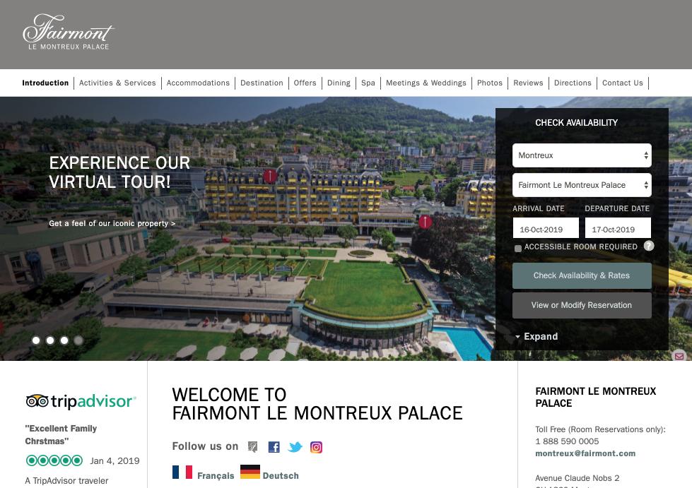 TrueTour™ Featured Front and Center on Fairmont Le Montreux Palace's Website