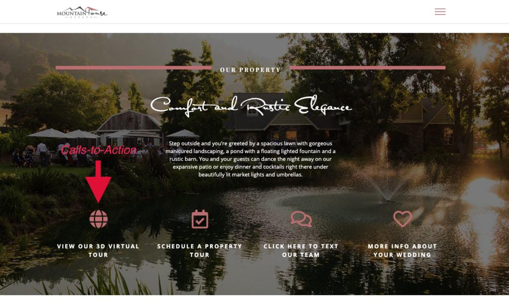 Call to Action on a wedding website highlighting virtual tour button