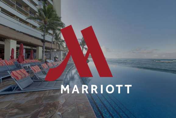 Marriott Logo over Sheraton Waikiki Infiniti Pool image